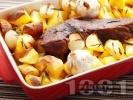 Рецепта Печено телешко месо (шол) с картофи и розмарин в тава на фурна